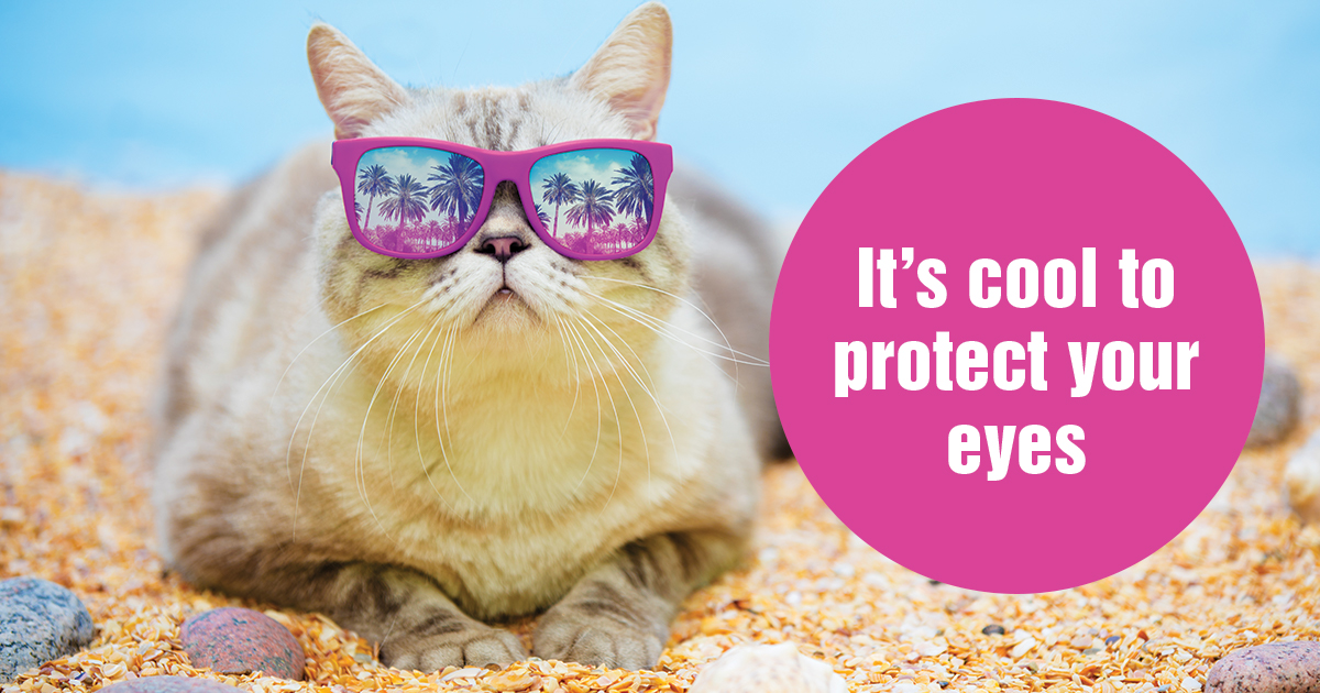 A cat wearing sunglasses. Text reads: It's cool to protect your eyes.